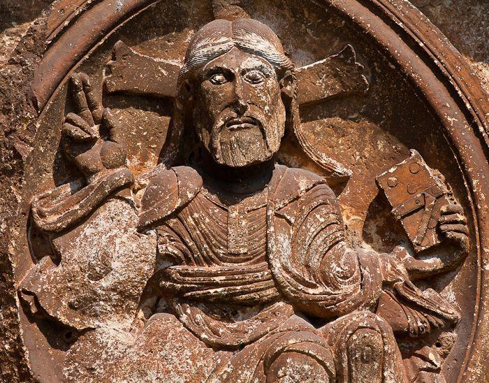Detail - Christ in Majesty, Église Saint-Pierre-ès-Liens, Goujounac (Lot)  Photo by Dennis Aubrey
