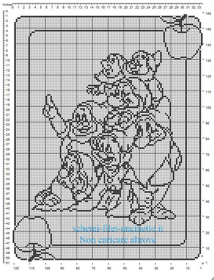Schema copertina neonato uncinetto filet con i Sette Nani tutti insieme