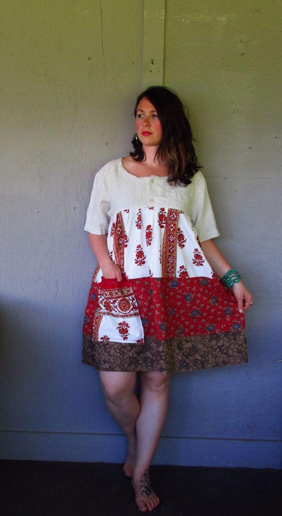 summer ethnic Bohemian dress tunic/eco upcycled clothing/French Shabby dress/repurposed Baby doll dress/oversized Large-X Large-1X plus size on Etsy, $85.50