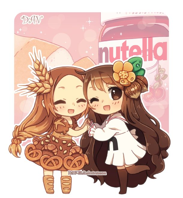 Bread and Nutella by *DAV-19 on deviantART  Bread-chan & Nutella-chan are a match made in heaven :3