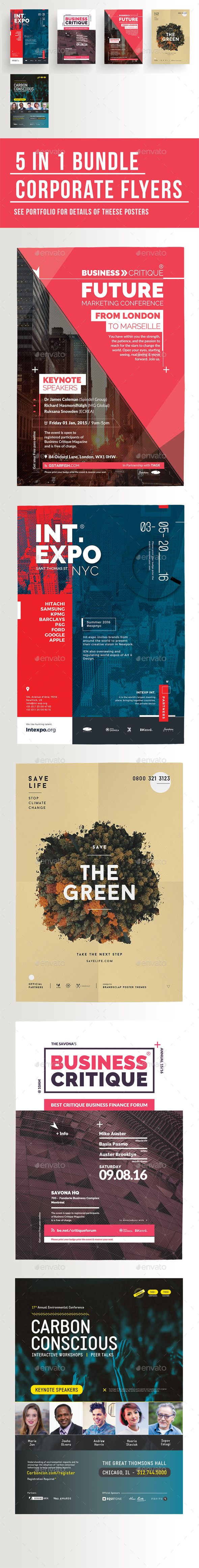5 in 1 Corporate Flyers Template Bundle - Corporate Flyers