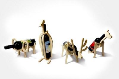 四款可愛的木製動物紅酒架有創意又調皮