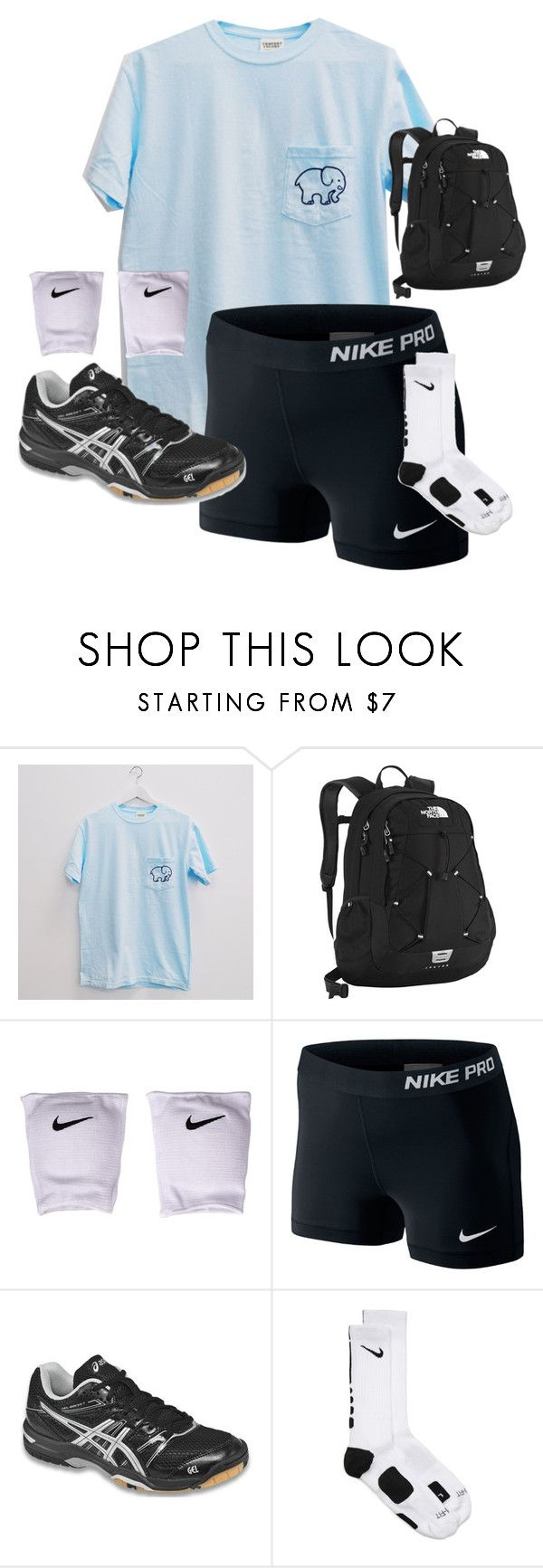 """""""Volleyball practice❤️"""" by justice3-1 ❤ liked on Polyvore featuring The North Face, NIKE, women's clothing, women, female, woman, misses and juniors"""