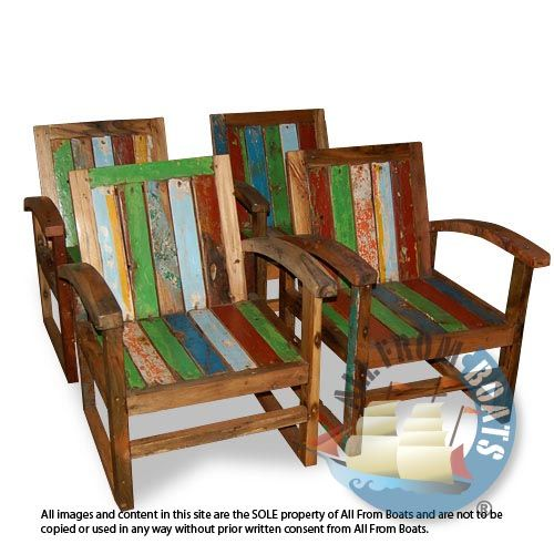German Chair With Arms Made From Reclaimed Boat Timber