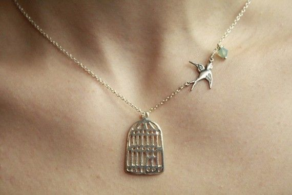 Silver Birdcage Necklace With Flying Sparrow by lilyladyblue, $34.00