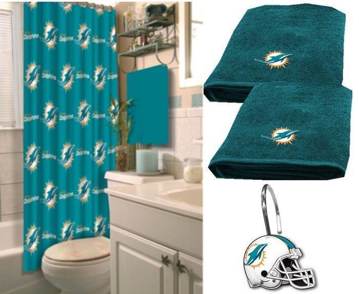 Miami Dolphins Nfl Deluxe Bath Set At Sportsfansplus Dolphin S Pinterest Dolphiniami