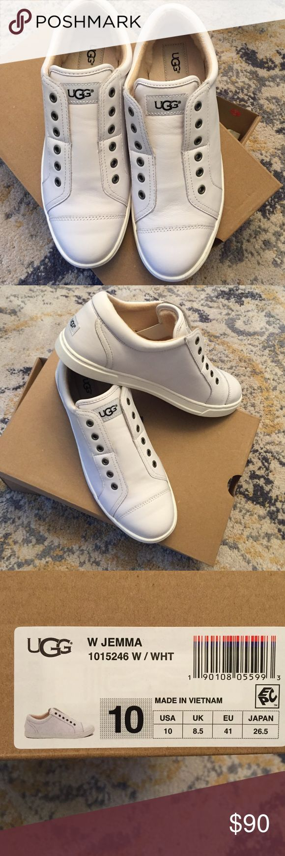 Ugg sneakers Sooo cute.  White leather lace less and super comfy.  NWT.  Never out of box! UGG Shoes