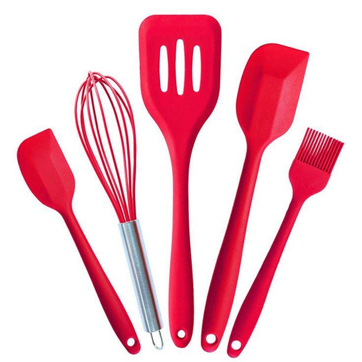 Keythemelife 5Pcs/set Kitchen Utensils Set Silicone Pastry Cooking Baking Scraper Sets Basting Brush Spatulas Kitchenware B5