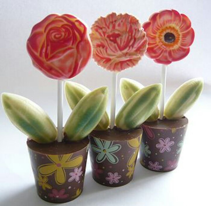 Great gift, shot glass chocolate set with green oval shapes in the with lolly stick then normal chocolate lolly flower and paint! So easy and pretty. Plus use transfers for flower pot!