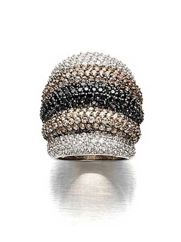 White Gold Plated Pave Faux Diamond Clear, Jet, Champagne Stripe Ring