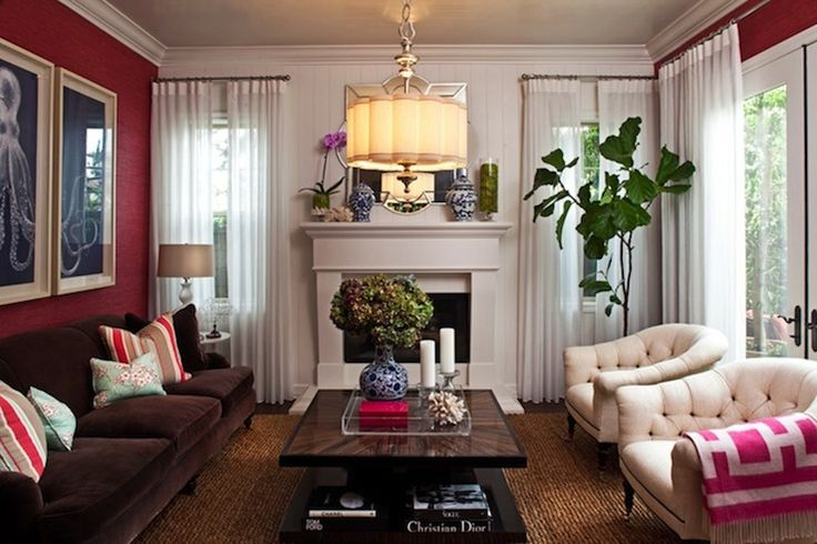 Chic Pink Brown Blue Living Room Designw Ith Pink Fuchsia Walls Paint C