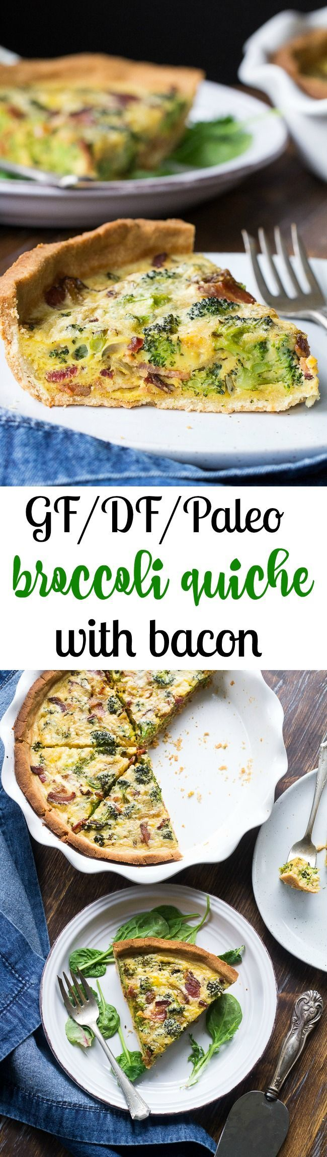"""This Paleo broccoli quiche is easy to make and perfect as a make ahead breakfast or to bring to brunch for Easter, Mother's Day or anything else! It's loaded with caramelized onions, savory sautéed broccoli and crisp bacon, plus has a secret """"cheesy"""" ingredient while remaining dairy free! Grain free, gluten free, healthy."""