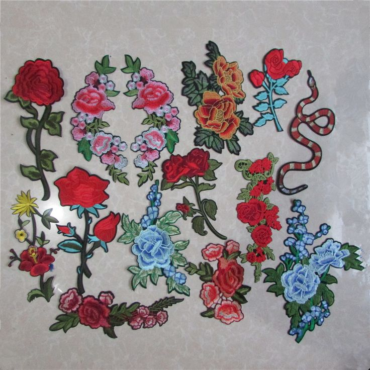 fashion style exquisite flowers patterend hot melt adhesive applique embroidery patch DIY clothing accessory patch cheap