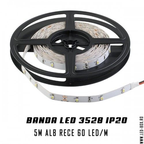 banda led smd chip led 3528 alb rece ip20 banda leduri interior 60 led metru chip epistar 3528 fara silicon 12v alb rece 6500k