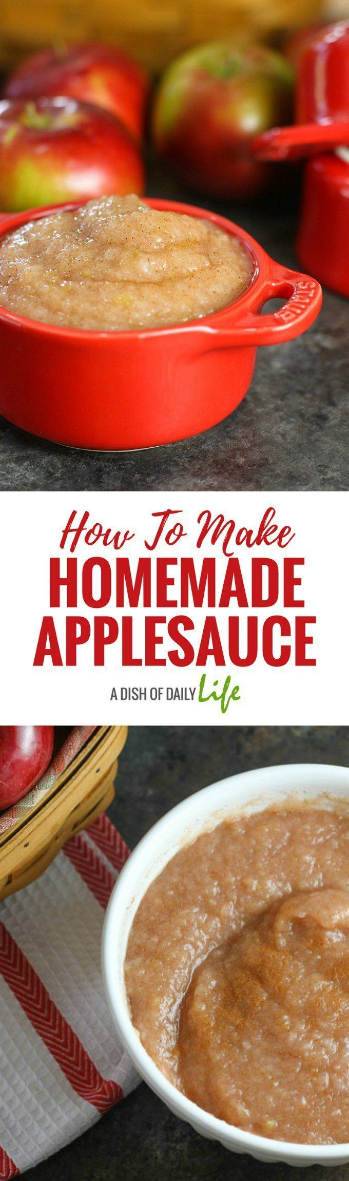 You're going to love this easy homemade applesauce recipe...two ingredients and water is all you need! #applesauce #apples