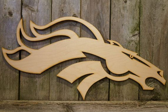 Denver Broncos logo laser wood cut wall hanging by ArrayOfDelight