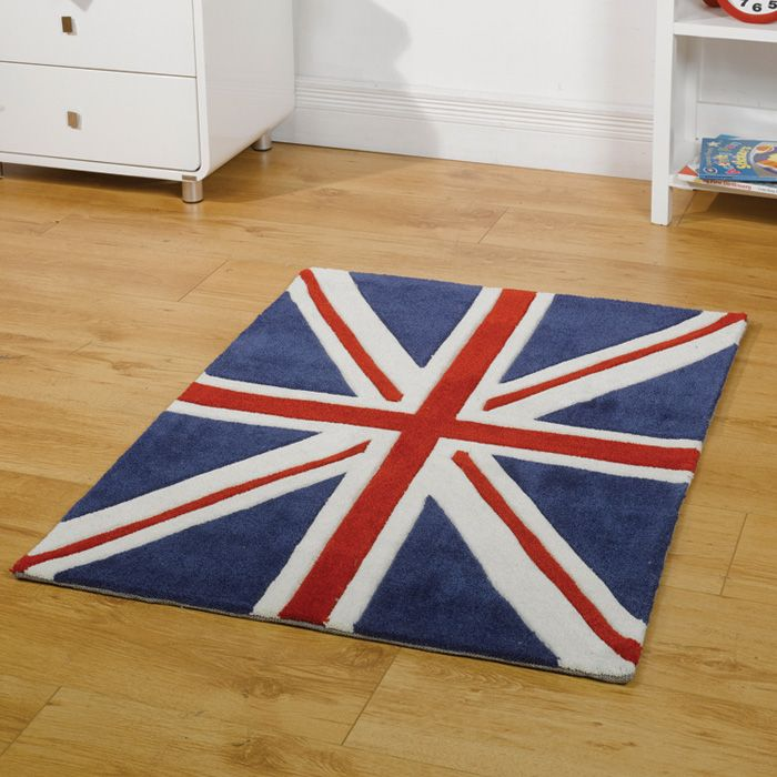 Children's rug designed for children and teenage bedrooms. This Union Jack rug, blue funky rug can be purchased from Chic at Home who are UK seller.
