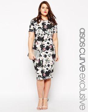 ASOS CURVE Bodycon Dress In Lily Print. No soy fan de los estampados, pero este me gusta mucho