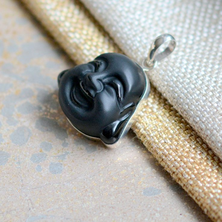 Carved Black Onyx Laughing Buddha Face Pendant, Carved Onyx Buddha Head, Happy Smiling Buddha, Sterling Silver, Yogi Gifts, One, KP17-1026A by WanderlustWorldArts on Etsy