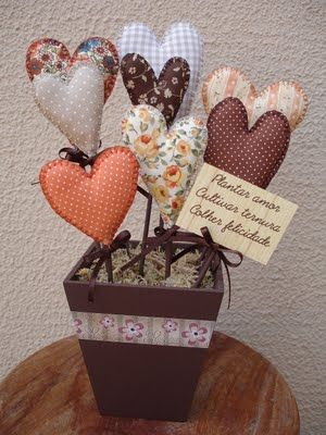 Fabric Hearts flower pot.   This would be cute with pencils as the stems