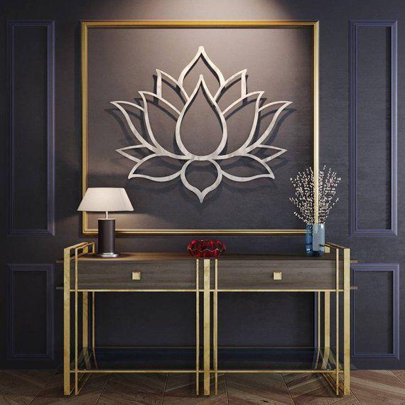 Lotus Flower Large 3d Metal Wall Art Meditation Wall Art Modern Sculpture Meditation Room Decor Yoga Studio Wall Art Buddha Wall Art Buddha Wall Art Metal Flower Wall Art 3d Metal