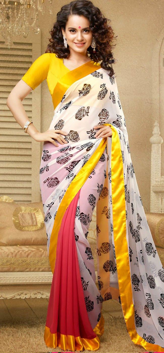 Kangana in roses print georgette saree: KSR2593