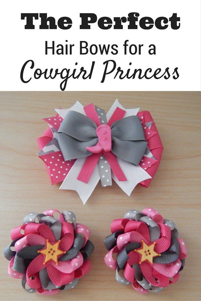 Cowgirl Princess Pink Hair Bow & Clips Set - ColorfulBows - 3