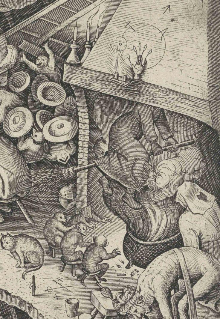 Detail van Jacobus bij de tovenaar. Pieter Bruegel, 1565. Bij Bruegel vliegen heksen op monsters en door de haard op een bezem. Bij navolgers wordt de bezem populair als het vervoermiddel voor nachtelijke vluchten. In de haard staat een ketel. Heksen bereiden in hun ketel het feestmaal van de sabbat, vliegzalf en andere tovermiddelen. De combinatie ketel en haard laat de kwaadaardige toverij als de vlucht door de schoorsteen zien.