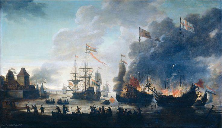 Nederlandse zeevaarders verbranden Engelse schepen voor de kust in 1667.