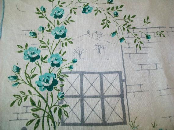 4 Vintage turquoise floral linen napkins, 1960s, 1950s, sky blue, turquoise, teal, midcentury, placemat, napkin, kitchen, linen. $9.99, via Etsy.