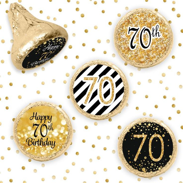 Black and Gold 70th Birthday Party Favor Stickers (Set of 324) – Distinctivs