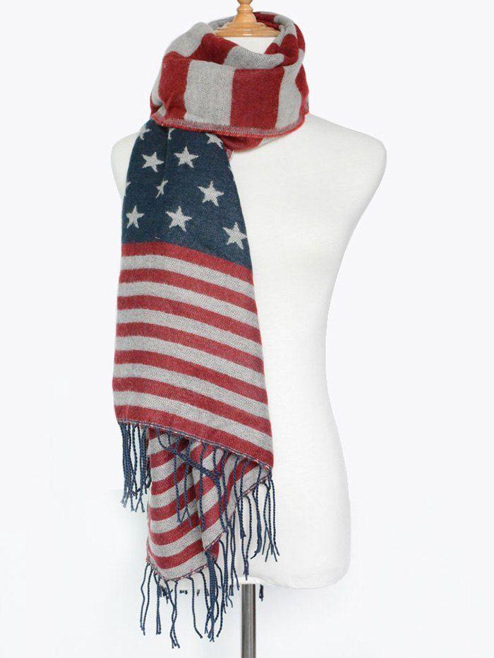 Street Wear American Flag Pattern Tassel Shawl Scarf #men, #hats, #watches, #belts, #fashion, #style