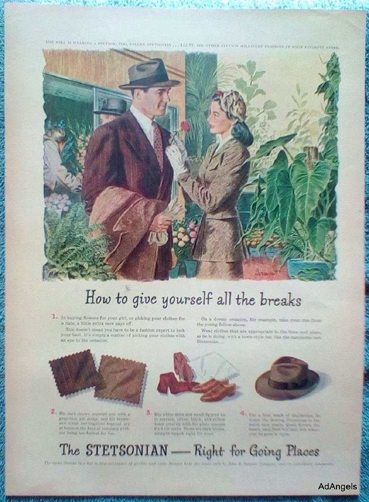 dffb042b26a 1946 Stetson Stetsonian Hat ad. Artist  Dean Dormont. This is for the  advertisement only