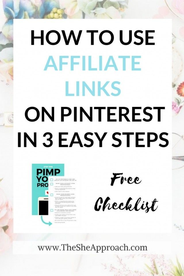 Make your first affiliate sale with Pinterest. Get your free checklist today and start making money from home today! A step to step guide to implementing affiliate links on your pins and making moeny with Pinterest (as a blogger), Free printable pinterest