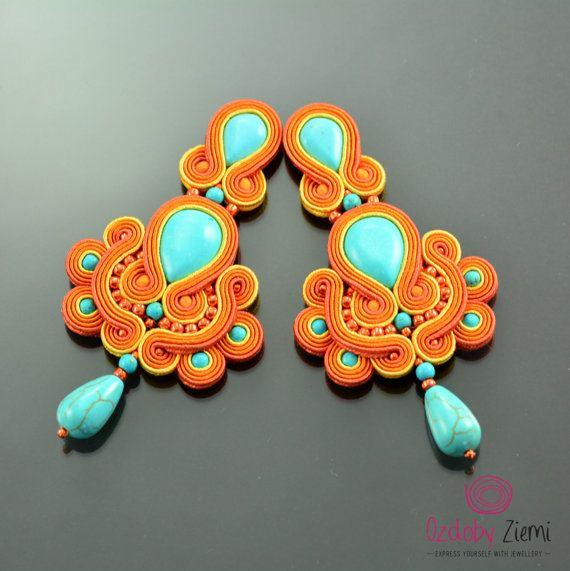 Clip on Long Turquoise Orange Soutache Earrings di OzdobyZiemi