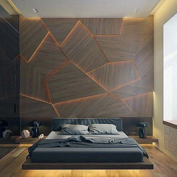 Ideas For Mens Bedroom With Unique Wall Design