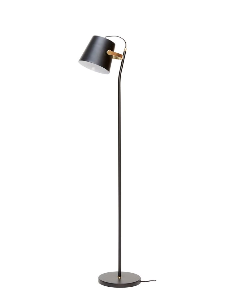 With a tall, slender base and bucket shaped shade, our elegant black floor lamp…