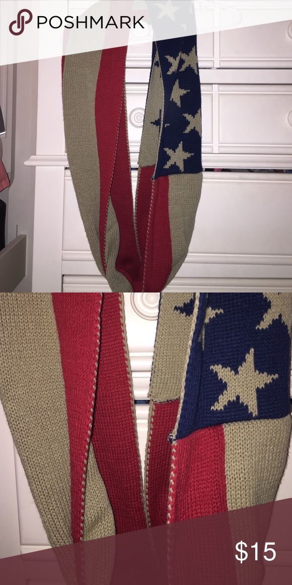 Americana infinity Scarf 100% acrylic infinity scarf with flag pattern, purchased from a local boutique, never worn! Would look great styled with a vest or jacket! Angela William Accessories Scarves & Wraps