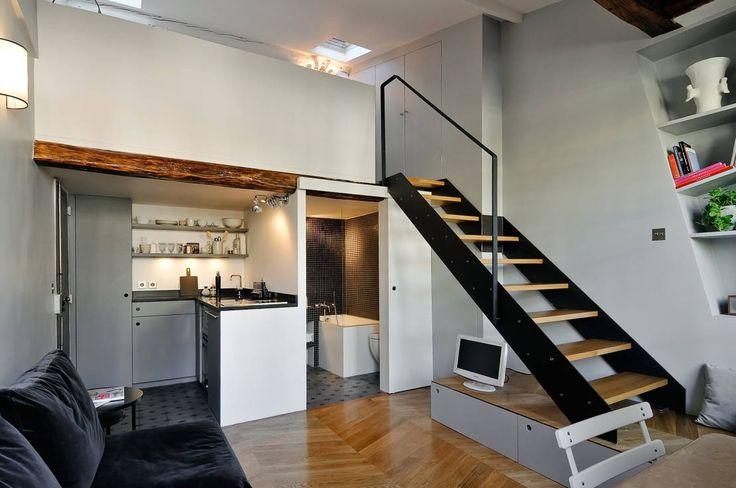 Vue d'ensemble : Modern corridor, hallway & stairs by Marion Rocher