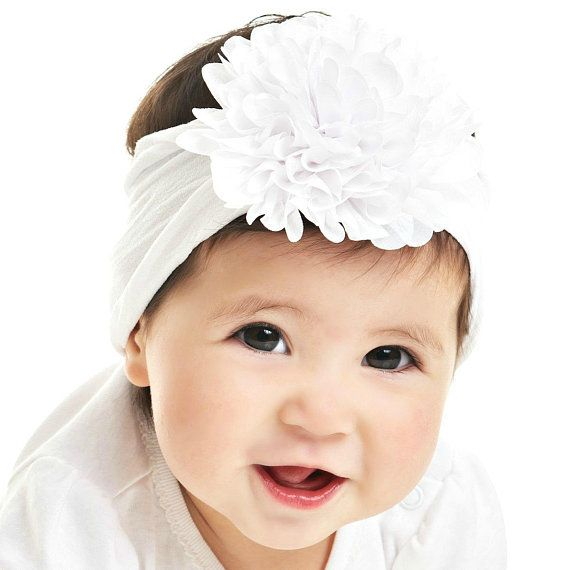 12d929922 Flower Nylon baby Headband, One size fits all nylon headbands, wide nylon  headbands, baby headbands, flower Nylon baby Head wrap, hair bows