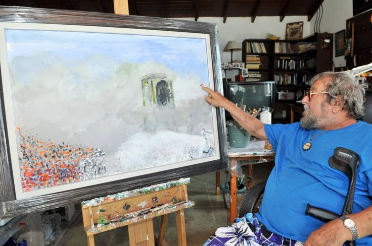 """Fikret Otyam And his """"Gezi"""" painting"""