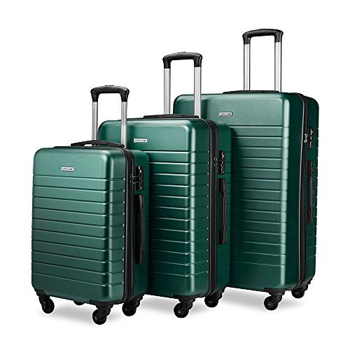 "Luggage Sets Spinner Hard Shell Suitcase Lightweight Luggage - 3 Piece (20"" 24"" 28"") - Galaxy (Dark green)$129.99"