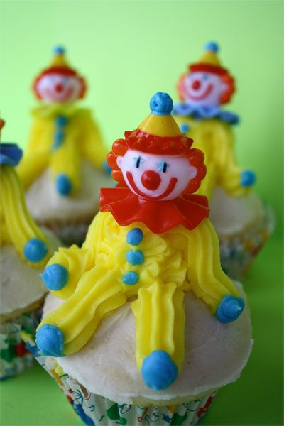 super simple silly clown cupcakes  cup cake decorating contest, between all teams, each team bakes & decorates 2 dozen cupcakes and we sell them all in a booth for a buck a pop, money goes to ACS