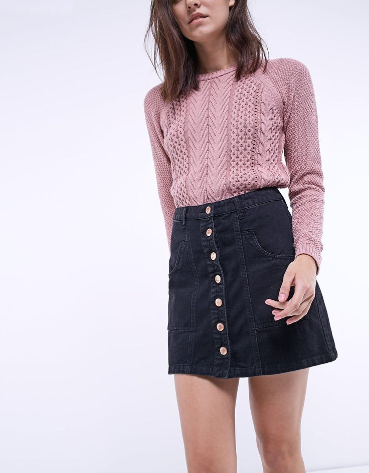 Denim skirt with button up - Skirts | Stradivarius United Kingdom