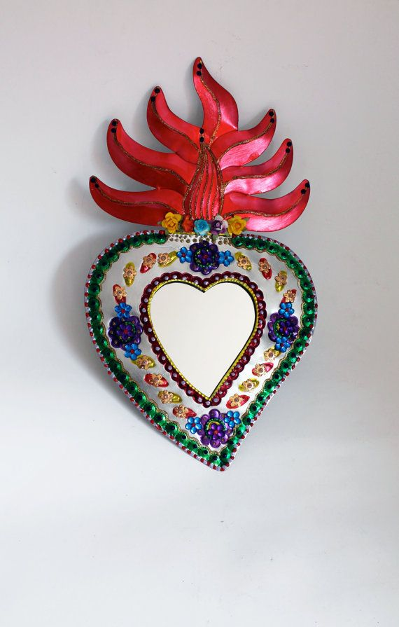 Sacred Heart tin metal mirror / Mexican folk art by TheVirginRose, $42.00