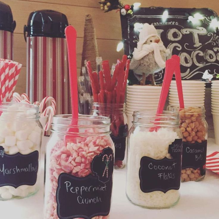 Hot cocoa bar toppings at a Winter Wonderland birthday party! See more party planning ideas at CatchMyParty.com!