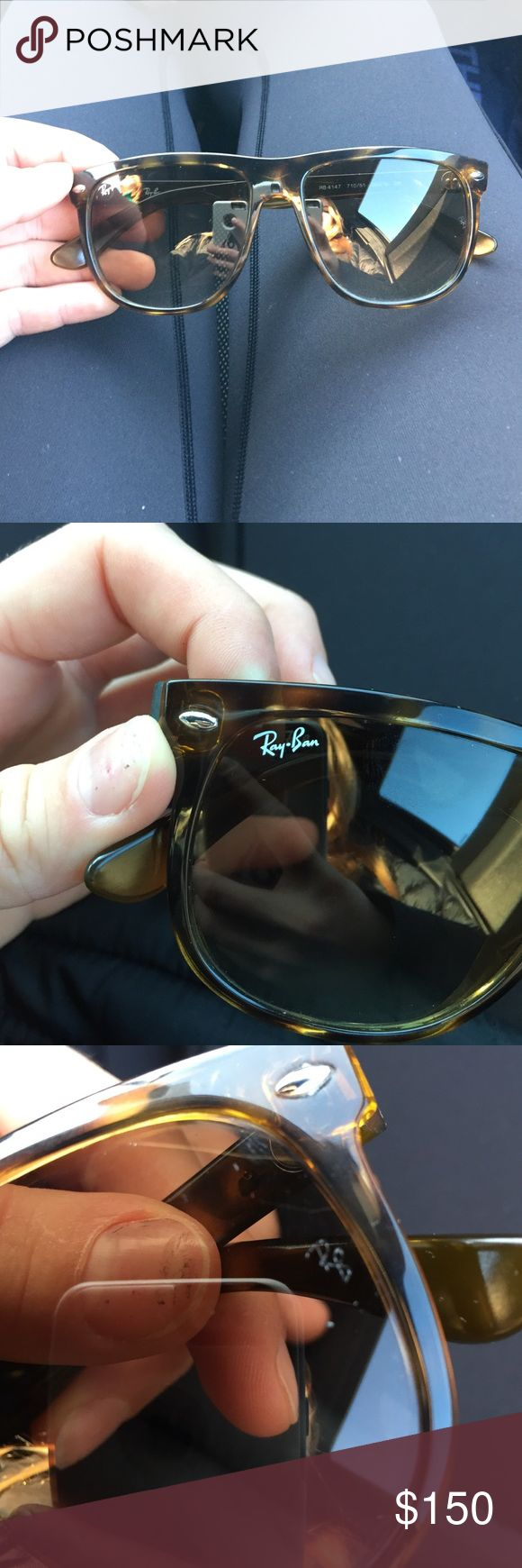 RB4147 Ray bans Tortoise Shell Authentic, only a few minor scratches on lenses but doesn't affect vision, no case or wipe, tortoise color Ray-Ban Accessories Sunglasses