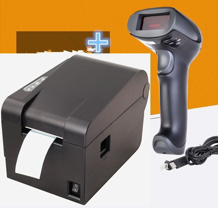 1 cable bar code scanner+XP-235B clothing tag  58mm Thermal barcode printer sticker printer Qr code the non-drying label printer