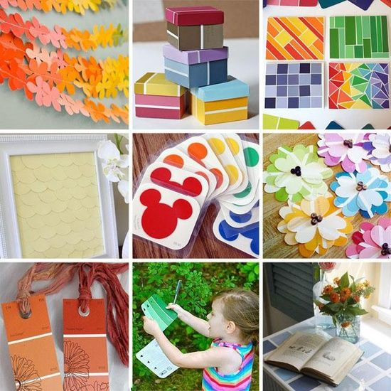 a collection of paint chip craft ideas