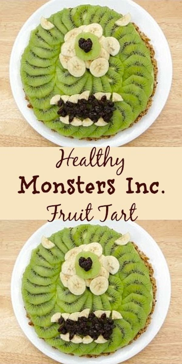 Monsters Inc Healthy Fruit Tart. Gluten free, dairy free and sugar free. Super healthy dessert recipe.